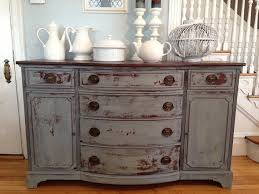 antique sideboard buffet console refinished in blue milk paint
