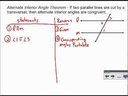 Definition Of Interior Angles Alternate Interior Angles Proof Youtube