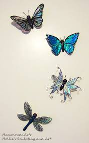 blue morpho butterfly magnet plant stake or clip rainbow