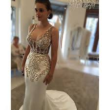 gold wedding dresses mzyk89 mermaid beaded gold lace appliques wedding dress
