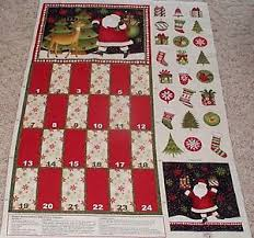 advent calendar panel fabric 100 cotton santas gifts