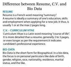 Difference Between Resume And Cv Differences Between Resume Cv And Bio Dats Jobs Vacancies Nigeria