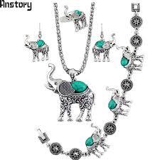 necklace bracelet earring ring images Hot item elephant pendant stone jewelry sets necklace bracelet jpg
