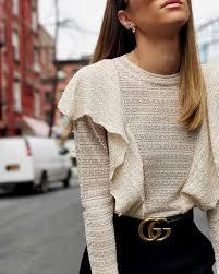 blouse tumbler blouse ruffled top white top white top ruffle belt gucci