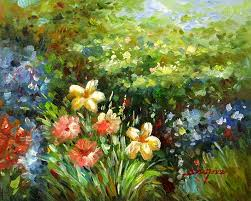 wild flower garden beautiful landscape oil painting oil