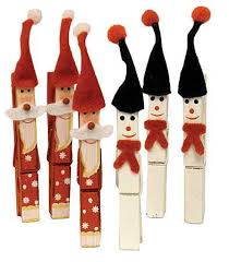 3 santa and snowman clothespins 6pcs ornaments