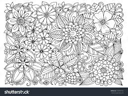 black white flower pattern coloring doodle stock vector 442487704