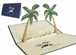 pop up greeting card palms and hammock lin pop up 3d