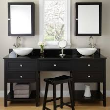 Taren Black Double Vessel Sink Vanity With Makeup Area - Bathroom vanities double vessel sink