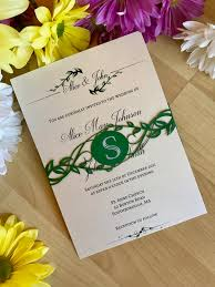 wedding invitations greenery greenery wedding invitation with laser cut belly band custom