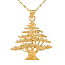 golden pendant necklace images Yellow gold lebanese cedar tree pendant necklace jpg