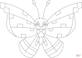 vivillon with the tundra pattern coloring page free printable
