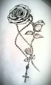 awesome rose and rosary tattoo drawing by levilambert