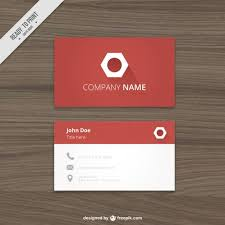 business card logo red business card with a hexagonal logo vector