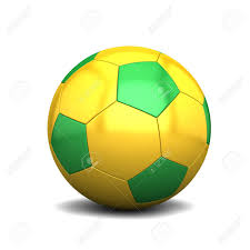 Green White And Yellow Flag Yellow Green Soccer Ball Isolated On White Background Stock Photo