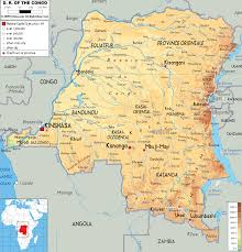 angola physical map physical map of democratic republic of congo ezilon maps