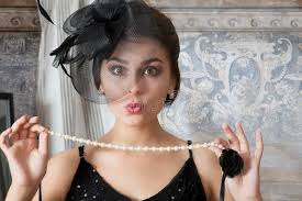 girl pearl necklace images Pin up girl with pearl necklace stock photo image of retro jpg