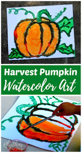 harvest pumpkin watercolor art project rhythms of play