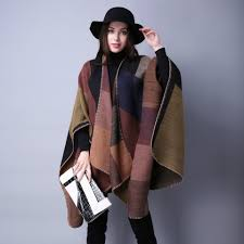 aliexpress winter blanket scarf women plaid ponchos and