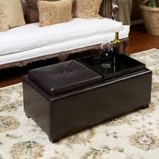 Leather Storage Ottoman Coffee Table Leather Storage Ottoman With Tray Foter