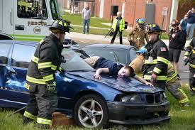 senior driving class mock car crash demonstrates dangers of driving to senior