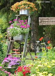 garden display ideas vintage ladder flowerpot garden display artsy gardens