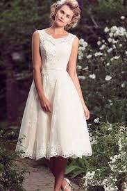 backless wedding dresses tea length beading scoop sleeveless a line lace backless wedding