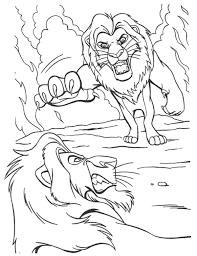 simba fighting scar lion king coloring animal coloring