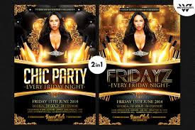 2in1 chic party flyer template flyer templates creative market