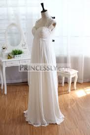 lace chiffon wedding dress keyhole back empire waist maternity