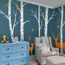 Tree Wall Decals For Living Room Birch Tree Wall Decals Customized Birch Tree Decals For Your