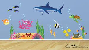 ocean wall decalskids ocean theme wall stickersfish and zoom