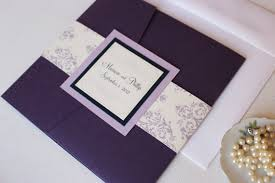 pocket fold purple pocket fold wedding invitations purple and lavender
