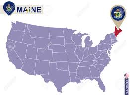 Maine Flag Image Maine State On Usa Map Maine Flag And Map Us States Royalty