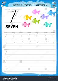 writing practice number seven printable worksheet stock vector