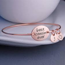 Personalized Bangle Bracelets Cousin Bracelet Best Cousin Ever Personalized Bangle