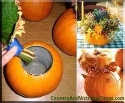 thanksgiving pumpkin candle holder floral arrangment centerpiece