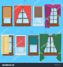 window curtains blinds set jalousie house stock vector 363793571