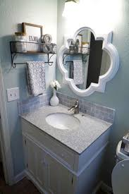 bathroom makeover reveal frame mirrors white marble and countertop