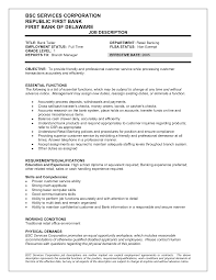 Resume Job Description by Customer Services Duties Resume