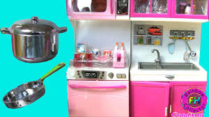 modern pink kitchen doll playset my modern kitchen 32 full deluxe kit with lights and