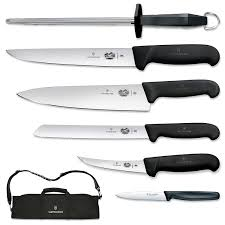 kitchen knives victorinox amazon com victorinox 7 fibrox handle cutlery set with
