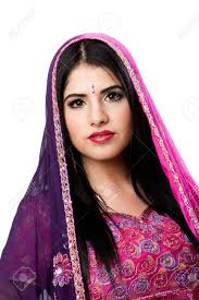 face of beautiful bengali indian hindu woman in colorful dress