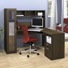 Dark Wood Computer Desk L Shaped Glass Desk With Drawers Best Home Furniture Decoration