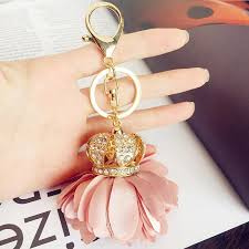 fashion key rings images 5pcs lot fashion car key rings women fabric ribbon rose flower jpg