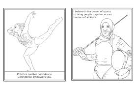 coloring page games cheering for these fun free female olympian coloring pages