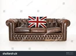 Blue Union Jack Cushion Chesterfield Couch Union Jack Cushion Stock Photo 47898484