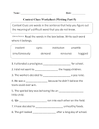 vocabulary in context worksheet worksheets