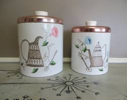 vintage canisters for kitchen set of canisters etsy