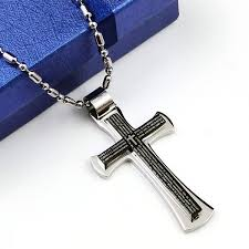 man cross necklace images Cool man black cross pure titanium necklace pendant new jpg